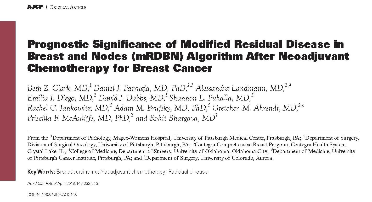 "Dr. Farrugia publishes ""Prognostic Significance of Modified Residual Disease in Breast and Nodes (mRDBN) Algorithm After Neoadjuvant Chemotherapy for Breast Cancer"""